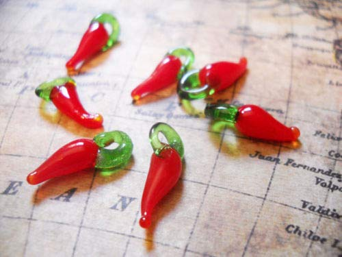 (Pendant Jewelry Making 10 Chili Pepper Charms Red Chili Pepper Lampwork Glass Charms 17mm)
