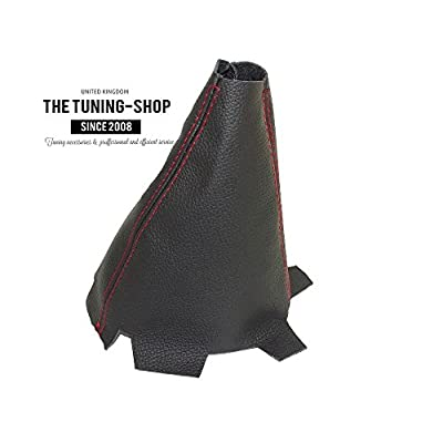 For Acura TSX 2009-14 Shift Boot Black Genuine Leather Red Stitching: Automotive