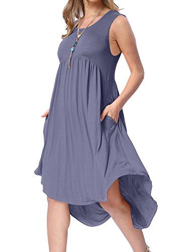- levaca Women Summer Plain Scoop Neck Loose Swing Causal T Shirt Dress Daybreak S