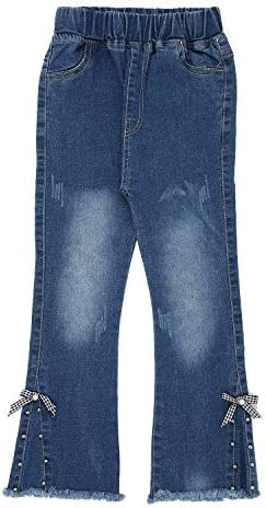 Hopscotch Girls Cotton and Polyester Solid Jeans in Blue Color