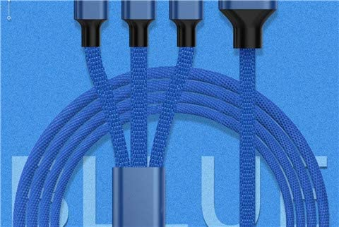 2 Pack Multi Charging Cable USB Data Line Fabric Braided 7.2ft(2.2m) Multi Cable 3 in 1 Charging Cable for Mobile Phones Tablets and More Blue