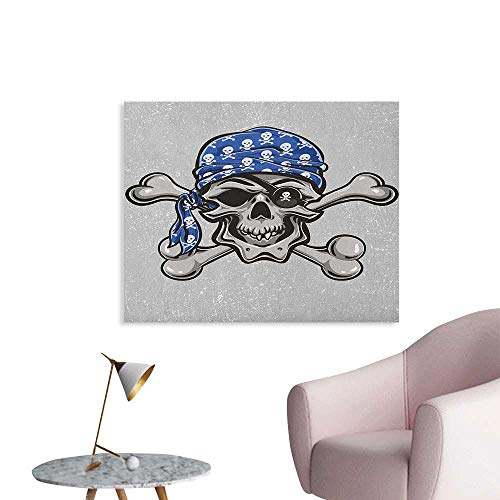 Anzhutwelve Skull Photographic Wallpaper Scallywag Pirate Dead Head Grunge Horror Icon Evil Sailor Crossed Bones Kerchief Wall Poster Blue Grey Black W36 xL32