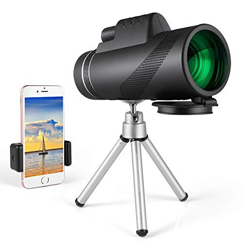 Monocular Telescope for Smartphone Dual Focus 10X42 HighPowered -Low Night Vision- Zoom Lens Phone – Waterproof with Phone Clip Tripod – Perfect for Hunting, Bird Watching, Camping (Black)