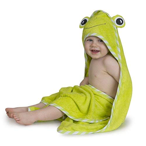 Luxury Hooded Baby Bath Towel & Washcloth Set(Green Frog)| Extra Soft Bamboo Baby Towels for Infant Toddler Newborn & Kids| Great Gift for Boys Girls for Pool & Beach | Softer than Organic Cotton hood