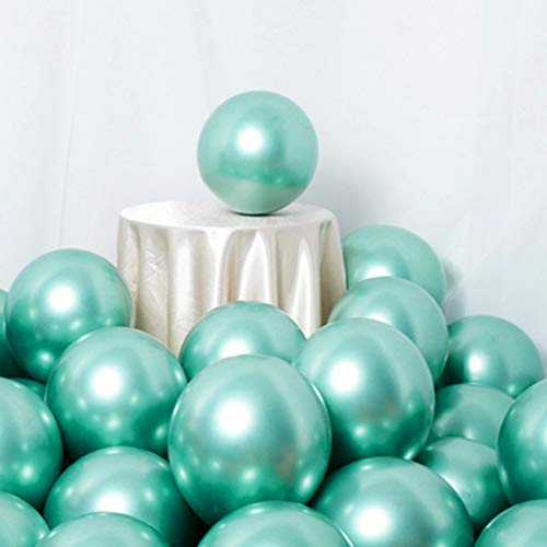 Party Balloons 50 Pcs 12Inch Metallic Chrome Helium Shiny Latex Thicken Balloon Perfect Decoration for Wedding Birthday Baby Shower Graduation Christmas Carnival Party Supplies Green ()
