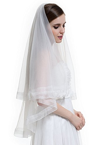 [BEAUTELICATE 2T Bridal Wedding Veil with Comb Classy Ribbon Edge Fingertip Length-V58(White)] (Gothic Bride Halloween Makeup)