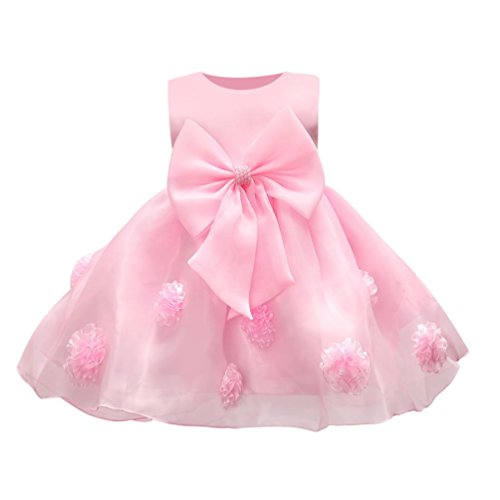 CSSD Flower Baby Girl Princess Bridesmaid Pageant Gown Birthday Party Wedding Dress for 6M 12M 18M Kids (12M, Pink)
