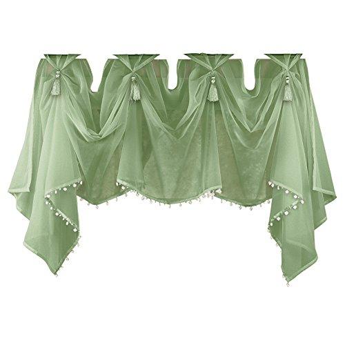 - Collections Etc Sheer Scoop Tassel Crystal Beading Rod Pocket Window Curtain Valance, Sage