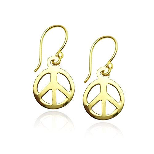 Yellow Gold Peace Sign - 925 Sterling Silver Peace-sign Dangle Earrings Yellow Gold Flashed