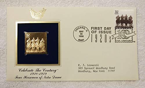 (The Four Horsemen of Notre Dame - Celebrate the Century (The 1920s) - FDC & 22kt Gold Replica Stamp plus Info Card - Postal Commemorative Society, 1998 - College Football, Fighting Irish )