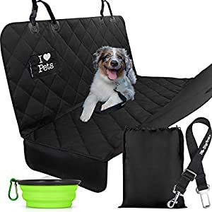 Starling's Luxury Dog Car Seat Covers - Double Stitched & Reinforced, Hammock Style, Heavy Duty & Waterproof! for Cars & SUVs W/Car Pet Seat-Belt! 70