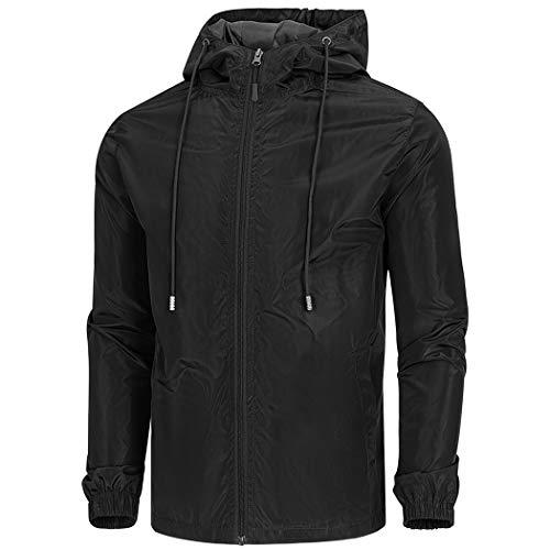 WULFUL Men's Lightweight Windbreaker Jacket Waterproof Hooded Outdoor Jackets Rain Jacket Coats - Nylon Jacket Windbreaker