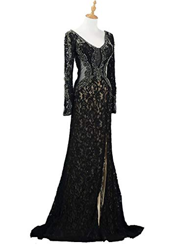 champagne Gowns Sleeves Women's Beaded Mermaid Long Prom Lace Evening Party A Formal Dresses DKBridal ZwqPSOO