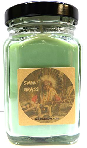 Sweet Grass 6oz Victorian Square Glass Jar Soy Candle - Made with Essential Oil Sophisticated and Timeless Wholesale Candles ()