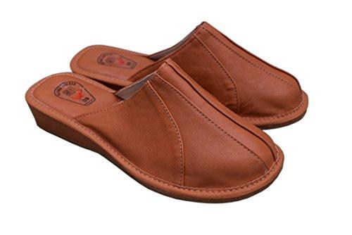 Natleat Slippers Womens Slippers Mules 33 - Zapatillas de estar por casa de Piel para mujer Negro negro Negro - Brown / 2