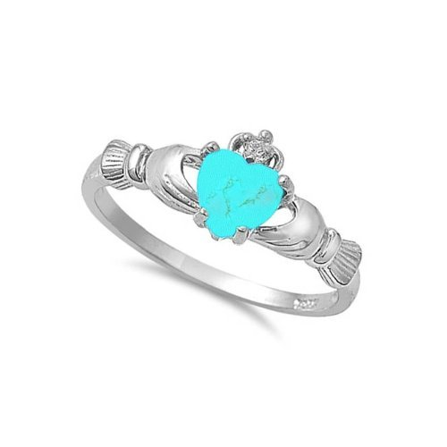 ALL NATURAL GENUINE - 9MM 2ctw Sterling Silver DECEMBER EXOTIC TURQUOISE HEART Royal Claddagh Celtic Irish Ring-SIZE 2-13 & 6.5, 7.5, 8.5 9.5-Half Sizes (.925 Italian Sterling Silver, 8)