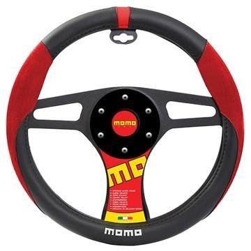 (MOMO SUEDE Steering Wheel Cover Black/Red/White)