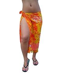Ingear Long Batik Print Sarong (One Size, Orange Yellow/Palms)