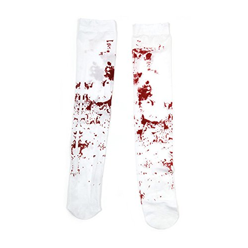 SpringPear Bloody Stockings Stained Zombie Fancy Dress for Halloween Horror Party Carnival Costume White -