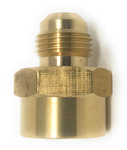 "Fuel or Gas Line Brass Fitting, [46F0608] Connector Coupling 1/2"" NPT female 3/8"" Flare male (3/8"" Flare x 1/2"" NPT)"