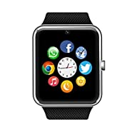 Sweatproof Watch Monitor Smart Watch Phone for iPhone 5s/6/6s and 3.5 or above Android or Above SmartPhones-Black
