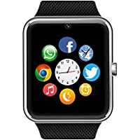 Bluetooth Smart Watch with SIM Card Slot for IOS iPhone, Android Samsung HTC Sony LG Smartphones Silver-Black by Enke