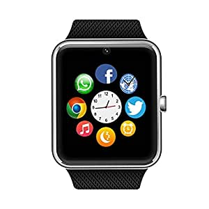 Bluetooth Smart Watch with SIM Card Slot for IOS iPhone, Android Samsung HTC Sony LG Smartphones Silver-Black