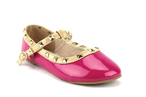 Price comparison product image QQ Girls Toddlers Dolly36-1 Designer T-Strap Studded Mary Jane Flats Shoes, Fuchsia, 7