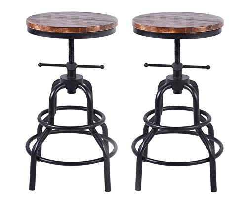LOKKHAN Vintage Industrial Bar Stools,Swivel Round Wood and Metal Bar Stool,Counter Height Adjustable,Cast Iron Stool(Set of 2)