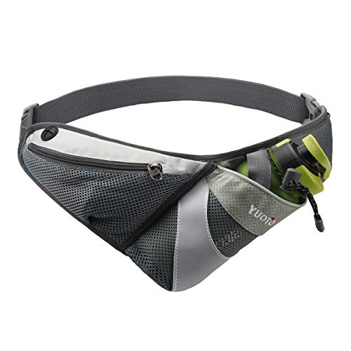 YUOTO Waist Pack with Water Bottle Holder for Running Walking Hiking Runners Hydration Belt fit Maximum 27oz and iPhone 8 Plus Men Women Grey