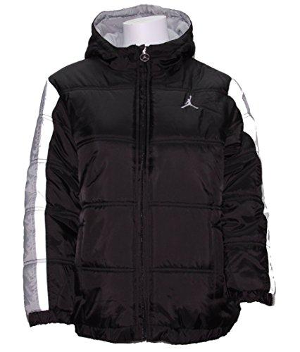Nike Boy's Jordan Jumpman Hooded Puffy Jacket Large - Black/Grey/White (Large) by NIKE