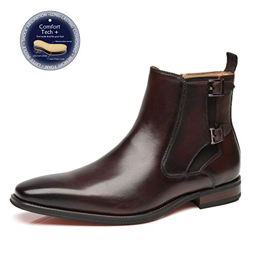 La Milano Mens Leather Chelsea Boots Winter Comfortable Formal Dress Monk Strap Ankle Chukka Buckle Slip On Boots -