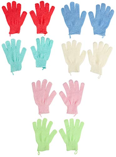 - Exfoliating Gloves - 6-Pair Textured Bath Gloves for Exfoliation, Dead Skin Cell Remover With Hanging Loop, 6 Colors, Shower, Beauty Spa, Massage, Body Scrub Skin Treatment, 6 x 7.3 Inches