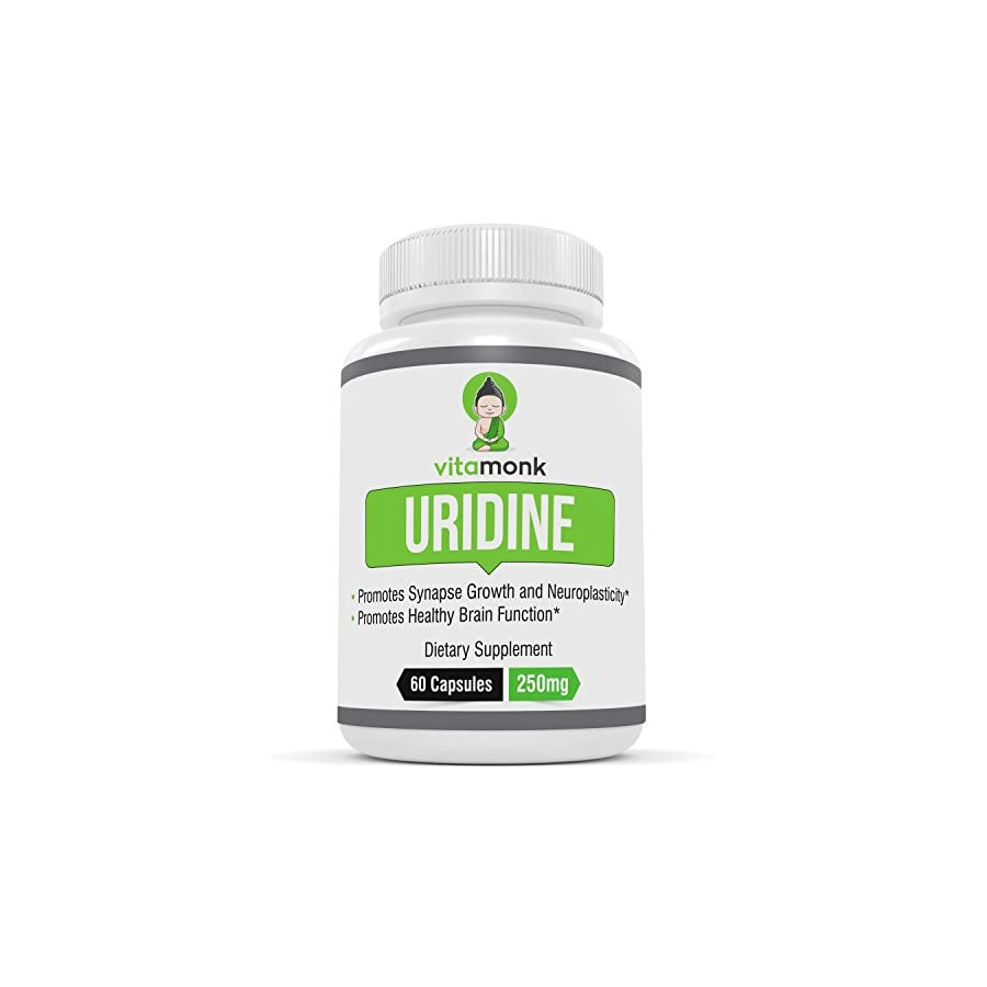 Uridine Monophosphate NO Artificial Fillers by VitaMonk Greatly Enhances Choline Top Rated Supplement to Support Focus and Mental Clarity 60 capsules Best To Stack with Alpha GPC Supplements