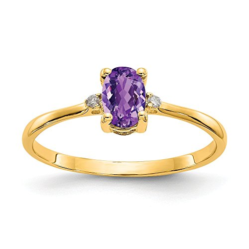 14k Yellow Gold Diamond Purple Amethyst Birthstone Band Ring Size 6.00 Stone February Oval Fine Jewelry Gifts For Women For Her