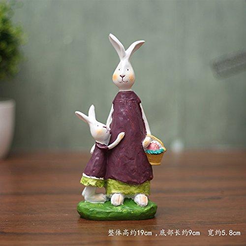 B KIKIXI American Pastoral Cute Rabbit Ornaments Shop Living Room Decor Decoration Home Furnishing Animal,A B Set
