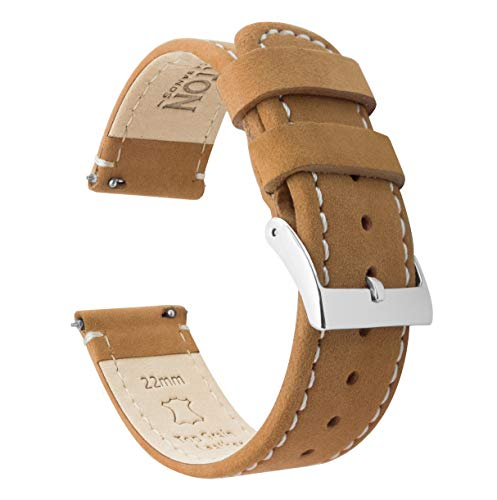 Barton Leather Watch Bands Compatible with All Apple Watch Models - 42mm Gingerbread Leather & Linen White Stitching ()