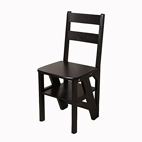 - 4 Steps Stairs Chair/Stool Foldable Stepladder Solid Wood Dual-use Ladder Stool Garden & Kitchen Tool Climb High Ladder (Color : Black walnut)