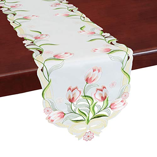 Simhomsen Embroidered Tulip Table Runners Spring Floral Table Linens Pink 13 × 68 Inch