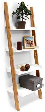 Relaxdays – Estantería Estilo Escalera de bambú, con 4 estantes, de 144 x 56 x 34 cm, para Cuarto de baño, Dormitorio, Sala de Estar, Color Blanco Natural: Amazon.es: Hogar