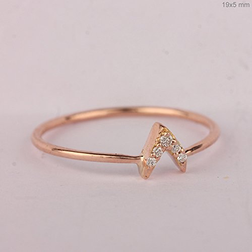 Mother's Day Sale Solid 14k Rose Gold Natural 0.04 Ct Diamond Pave V Shape Ring Handmade Fashion Fine (0.04 Ct Diamond Fashion)