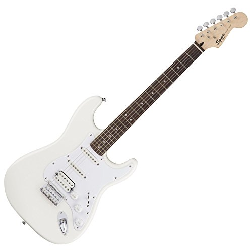 Squier by Fender Bullet Stratocaster Electric Guitar - HSS - Hard Tail - Rosewood Fingerboard - Arctic (Hss Solid Body Electric Guitar)