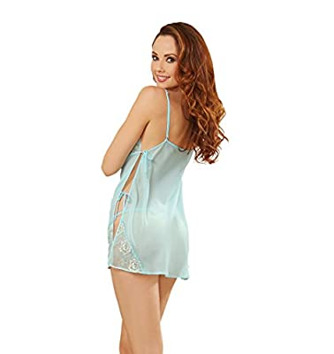 Dreamgirl Women's Chiffon Bias Cut Toga Baby Doll with Scalloped Cups Side Ties