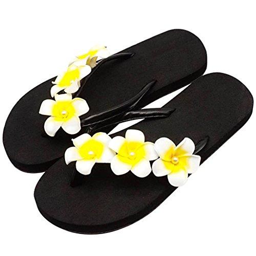 Flat Vacances Noire Slip Filles en Chaussons YAnFAn Femme Plate Clip 2cm mi Sandale pour Slipper des amp; Été Fleurs EVA Talon avec on Wedge Toe Jaunes Casual Plate Doux Dames Plage qCxBS