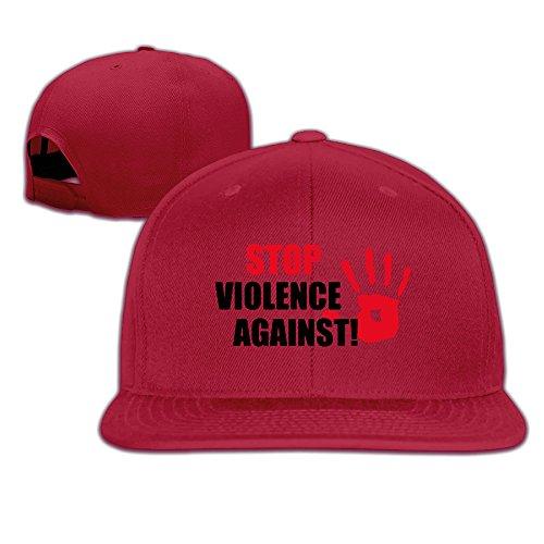 [JUNJ Custom Stop Violence Against Flat Brim Baseball Visor Cap Red] (Cyclops Visor Costumes)