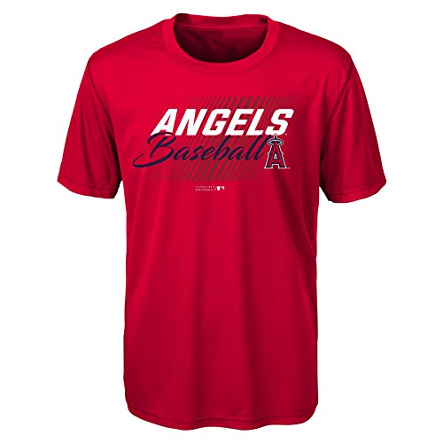 MLB Youth Boys 8-20 Angels Short sleeve Team Color performance Tee, L(14-16), Red