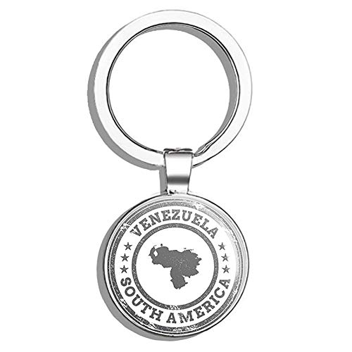 - Glover Trading Venezuela Map South America Grunge Rubber Stamp Travel Art Round Stainless Steel Metal Key Chain Keychain Ring Double Sided Deisgn