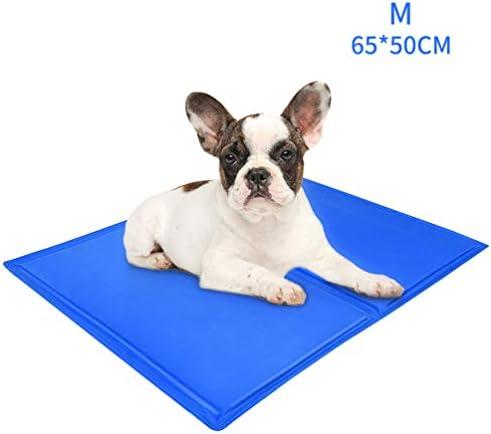 Petacc Hundekühlmatte Haustier-Kühlmatte Praktisches Hundekissen Faltbares Haustierbett Strapazierfähige Unterlage Zum Kühlen von Haustieren Blau