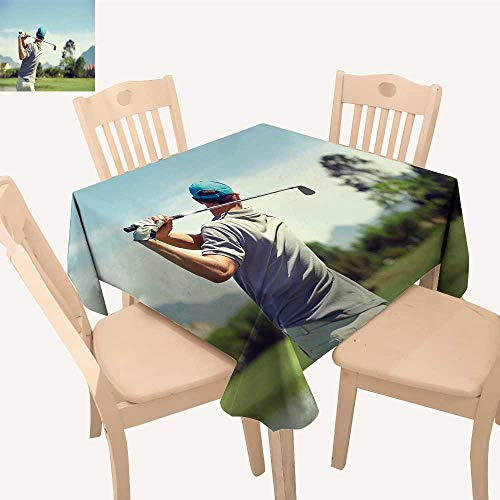 (UHOO2018 Natural Tablecloth Square/Rectangle Golfer hitt Golf Shot Club on Course While on Summer Vacation for Home Use, Machine Washable,50x 53inch)
