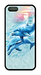 Dolphin Sunset TPU Case Cover for iPhone 5 and iPhone 5s Black